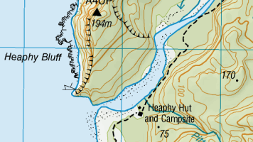 Heaphy Hut Topo Map