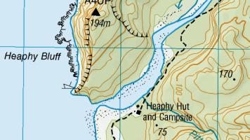 Heaphy Hut Topo Map